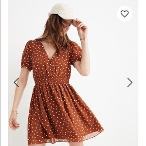 Madewell Smocked-Waist Mini Dress in Inkspot Dots